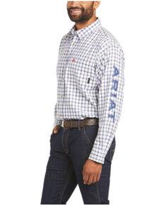 Ariat Men's FR Franko Plaid Logo Long Sleeve Button-Down Work Shirt - Big & Tall, White, hi-res