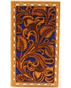 Nocona Men's Blue Floral Embossed Rodeo Wallet, Brown, hi-res