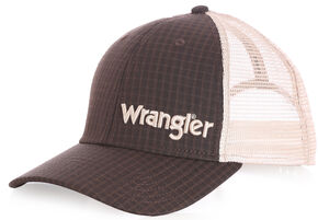 Wrangler Men's Plaid Mesh Back Cap, Brown, hi-res