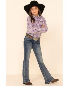Cowgirl Hardware Girls' Purple Plaid Horse Back Long Sleeve Western Shirt, Purple, hi-res