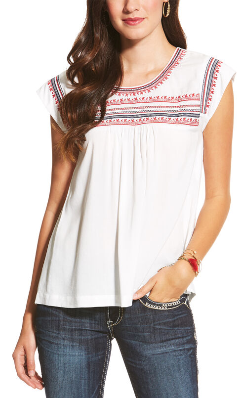 Ariat Women's White Embroidered Brandy Top, White, hi-res