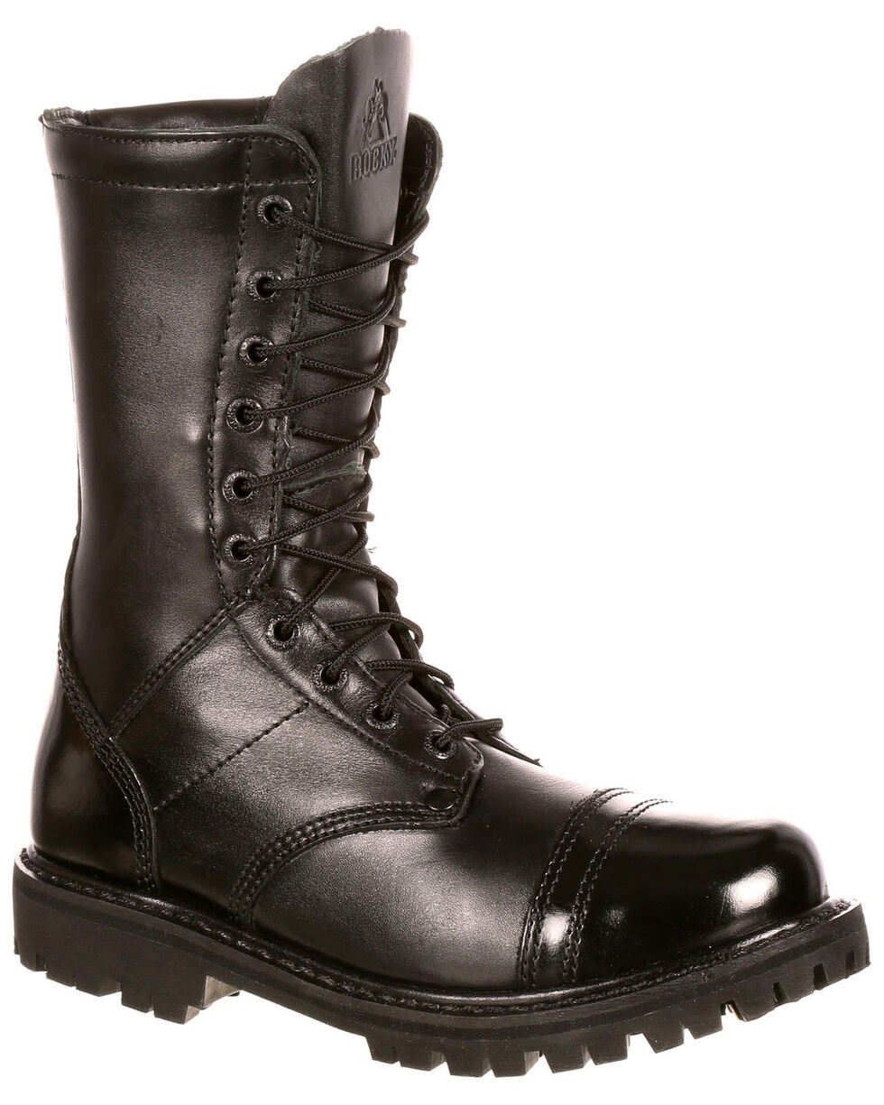 Rocky Women's Side Zipper Work Boots - Round Toe, Black, hi-res