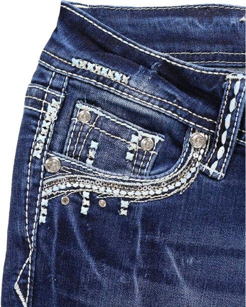 Grace in LA Girls' Blue Bling Pocket Jeans - Boot Cut , Blue, hi-res