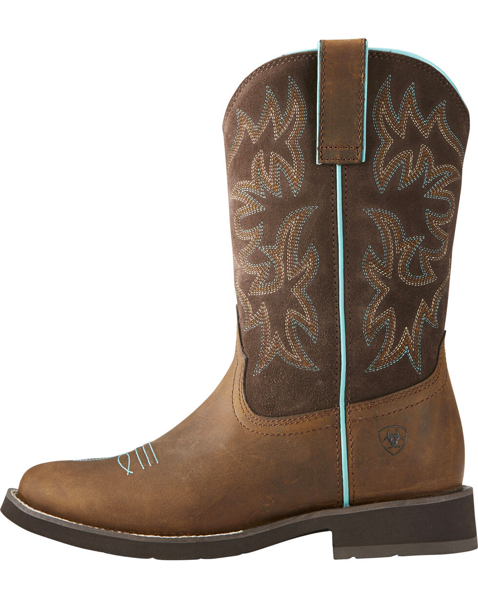 Ariat Women's Delilah Cowgirl Boots - Round Toe, Brown, hi-res