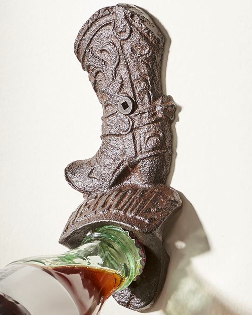 Giftcraft Cast Iron Cowboy Boot Bottle Opener , Brown, hi-res