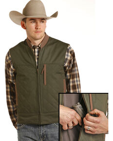 Powder River Outfitters Men's Brushed Twill Conceal And Carry Vest, Hunter Green, hi-res