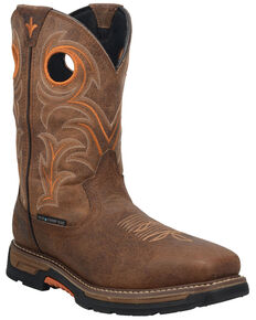 Dan Post Men's Storms Eye Waterproof Western Work Boots - Composite Toe , Brown, hi-res