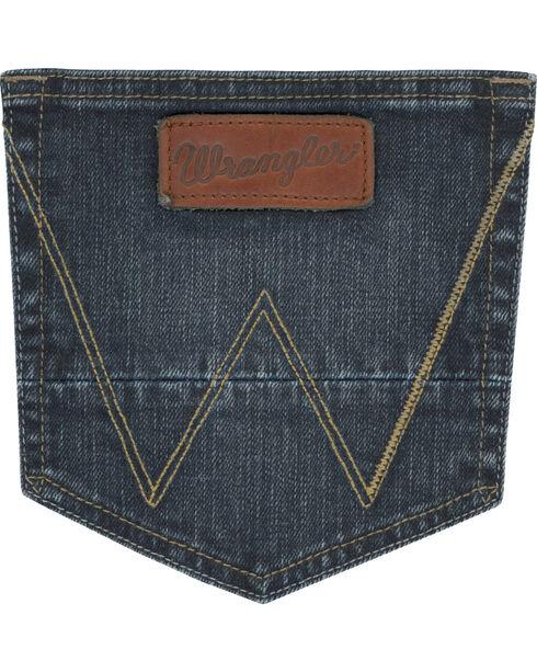 Wrangler Men's Indigo Retro Stretch Denim Slim Fit Simple Jeans - Boot Cut , Indigo, hi-res