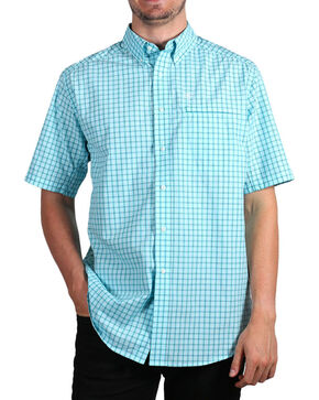 Ariat Men's Aqua Norrington Hybrid Short Sleeve Plaid Shirt , Aqua, hi-res
