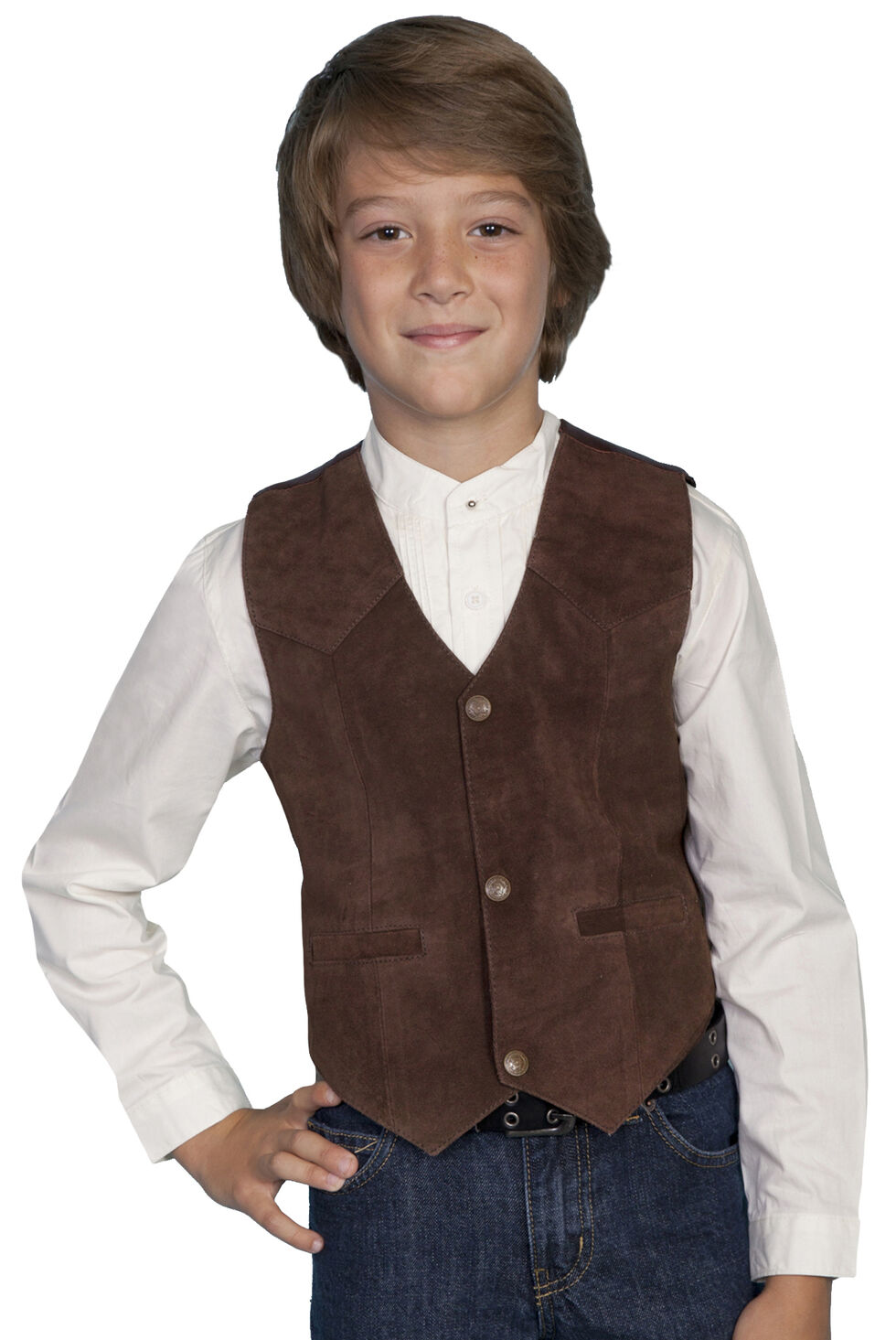 Scully Boys' Boar Suede Vest, Espresso, hi-res