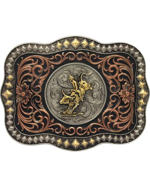 Montana Silversmiths Men's Tri-Colored Diamond Trim Scalloped Bull Rider Attitud, Multi, hi-res