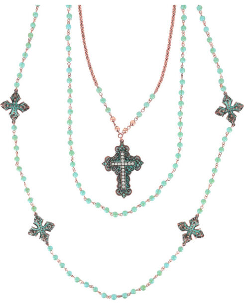 Shyanne Women's Turquoise Beaded Cross Necklace, Turquoise, hi-res