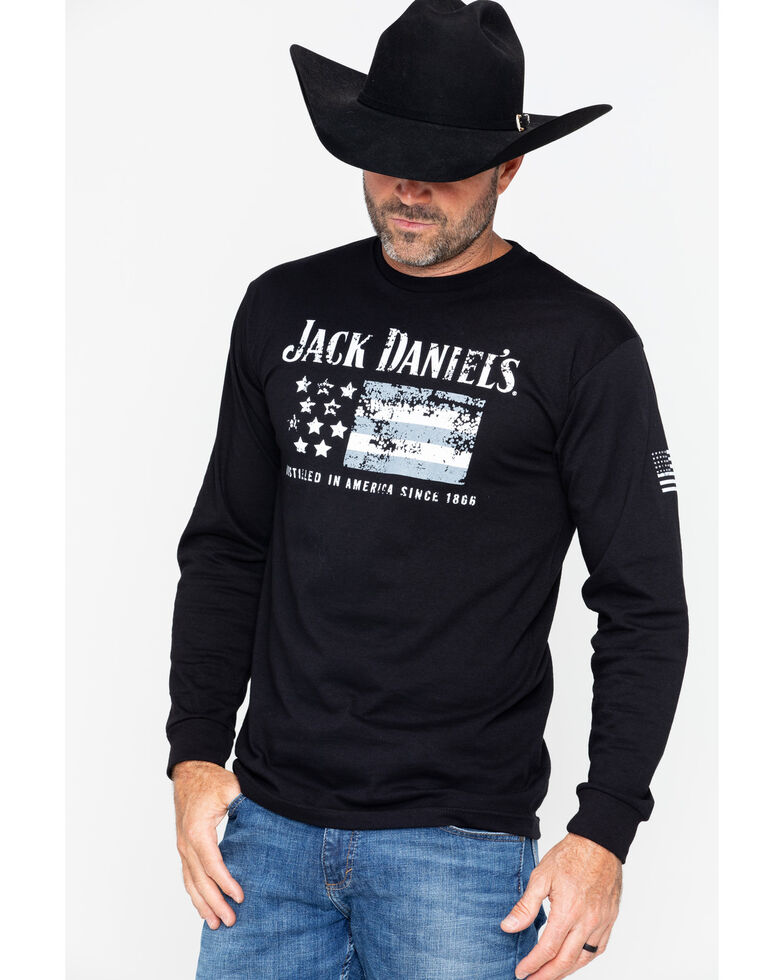 Jack Daniel s Men s American Flag Long Sleeve Shirt  2c3110ad3f7