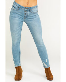 Miss Me Women's Distressed Ankle Skinny Jeans, Light Blue, hi-res