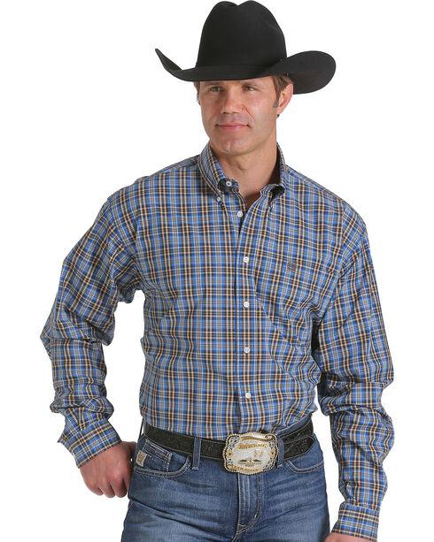 Cinch Men's Blue and Brown Plaid Western Shirt , Multi, hi-res