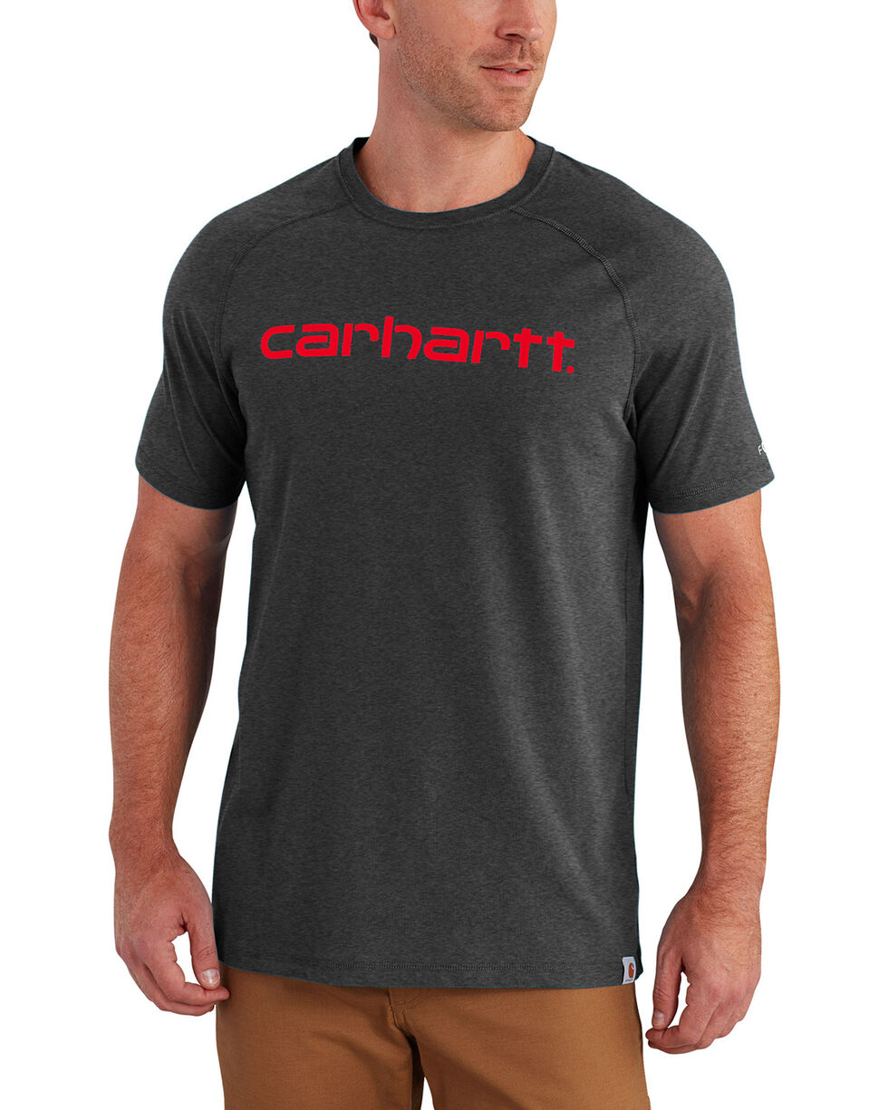 Carhartt Force Men's Cotton Delmont Graphic Short Sleeve Shirt, Charcoal, hi-res