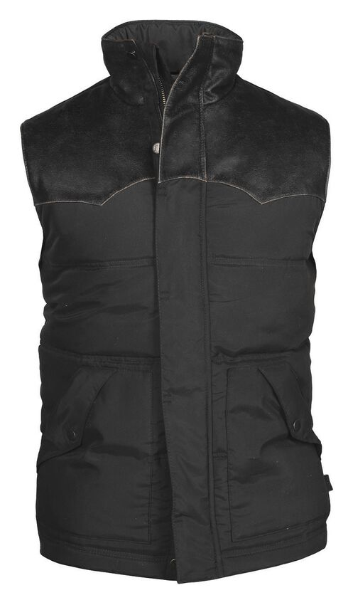 STS Ranchwear Men's Lucas Down Style Black Vest, Black, hi-res