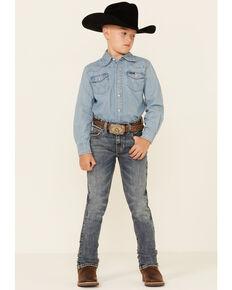 Rock & Roll Denim Boys' Medium Vintage Reflex Revolver Stretch Bootcut Jeans , Medium Blue, hi-res
