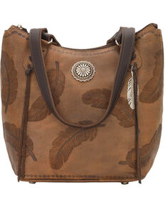 American West Women's Brown Sacred Bird Bucket Tote , Distressed Brown, hi-res