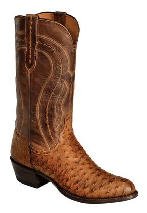 Lucchese Handcrafted 1883 Full Quill Ostrich Drosseto Boots - Round Toe, , hi-res