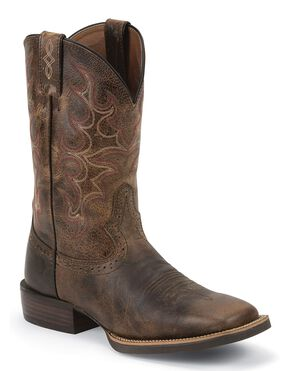 Justin Silver Cattleman Cowboy Boots - Square Toe, Antique Brown, hi-res