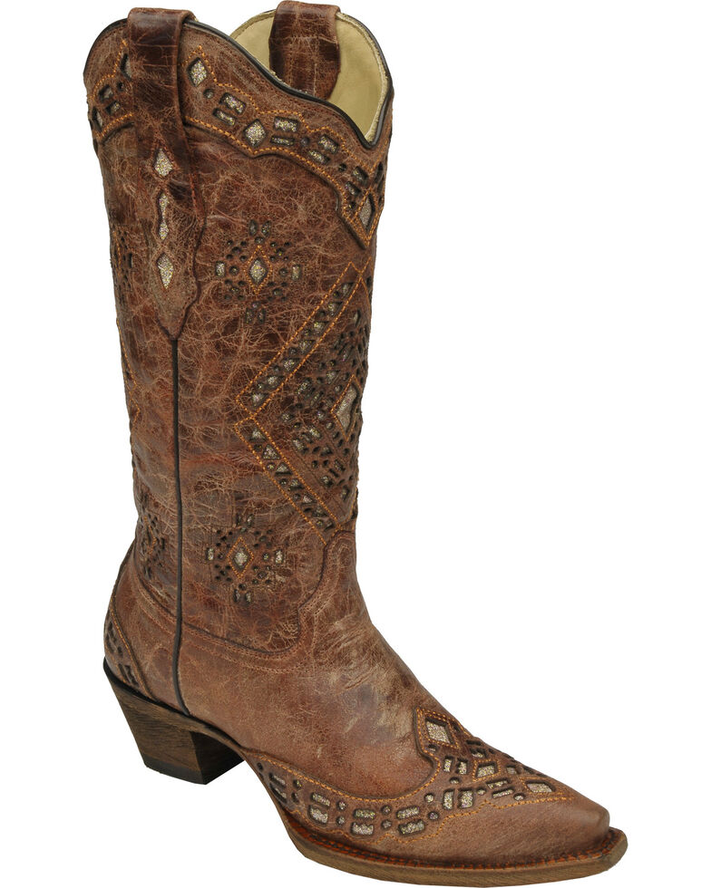 Corral Glitter Inlay Cowgirl Boots - Snip Toe, Cognac, hi-res