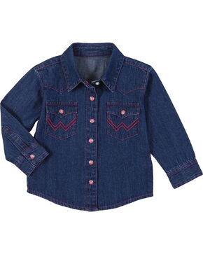 Wrangler Toddler Girls' Denim Western Shirt , Blue, hi-res