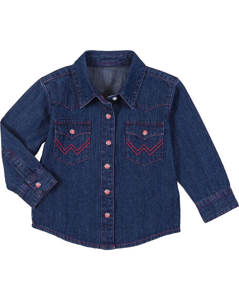Wrangler Toddler Girls' Denim Western Shirt , Blue, hi-res