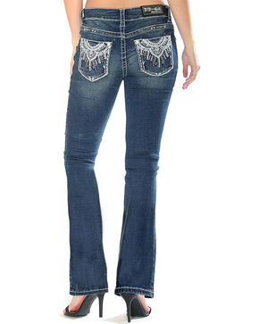 Grace in LA Women's Medallion Pocket Boot Cut Jeans , Indigo, hi-res