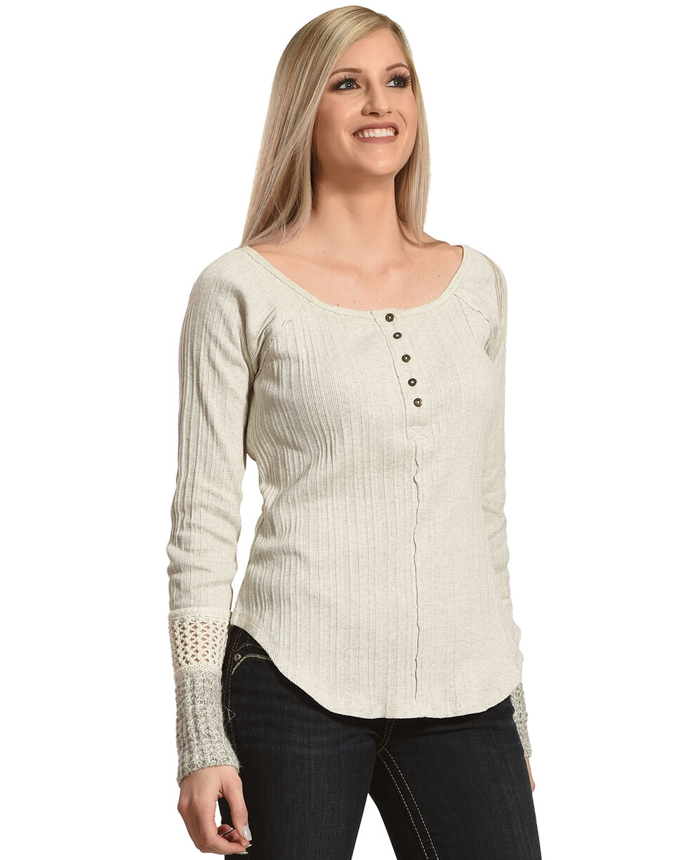 Shyanne Women's Long Sleeve Henley Shirt, Oatmeal, hi-res