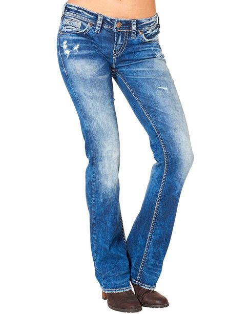 Silver Women's Aiko Mid Dark Wash Bootcut Jeans , Blue, hi-res