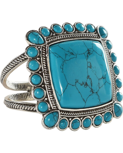 Wrangler Rock 47 Rocks & Roll Pool of Blue Hinged Cuff Bracelet, Silver, hi-res