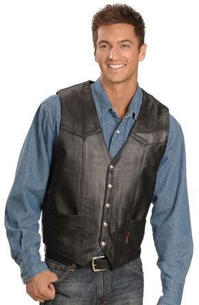 Interstate Leather Men's Classic Vest, Black, hi-res
