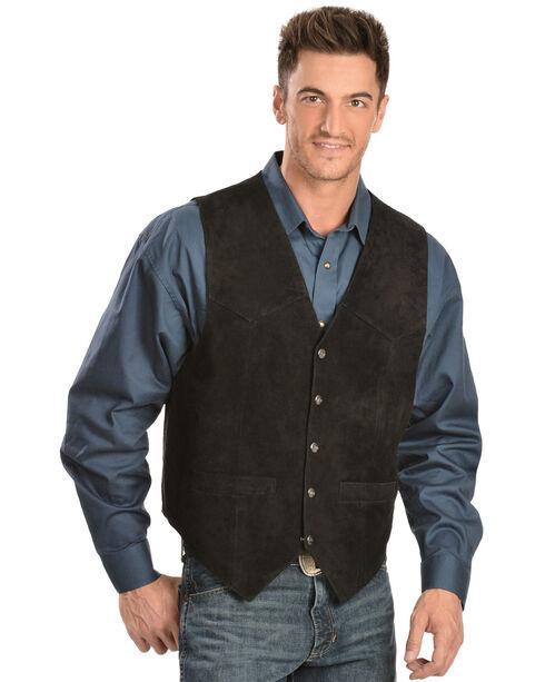 Scully Calfskin Suede Snap Front Vest, Black, hi-res
