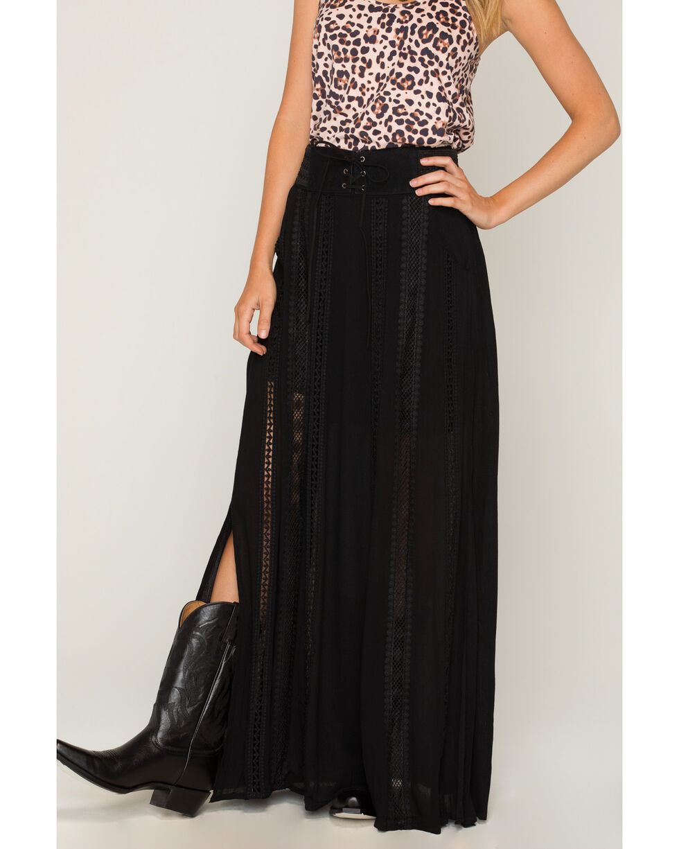 Shyanne Women's Belted Lace Black Maxi Skirt, Black, hi-res