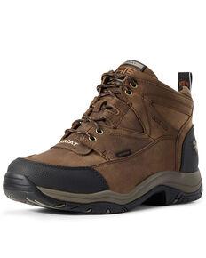 Ariat Men's Terrain Waterproof Work Boots - Soft Toe, Brown, hi-res