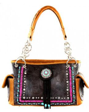 Montana West Concho Collection Handbag, Brown, hi-res