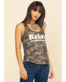 Shyanne Women's Olive Camo Relax Burnout Knot Tank Top, Olive, hi-res