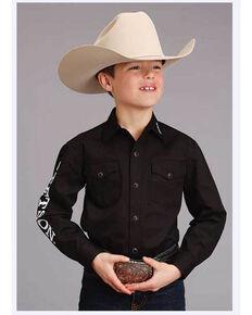 Stetson Boys' Blue Logo Wear Long Sleeve Western Shirt , Black, hi-res