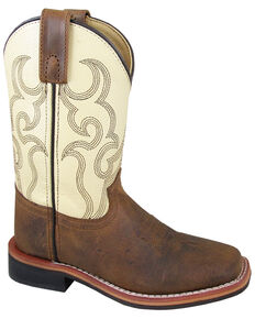 Smoky Mountain Boys' Scout Western Boots - Square Toe, Cream/brown, hi-res