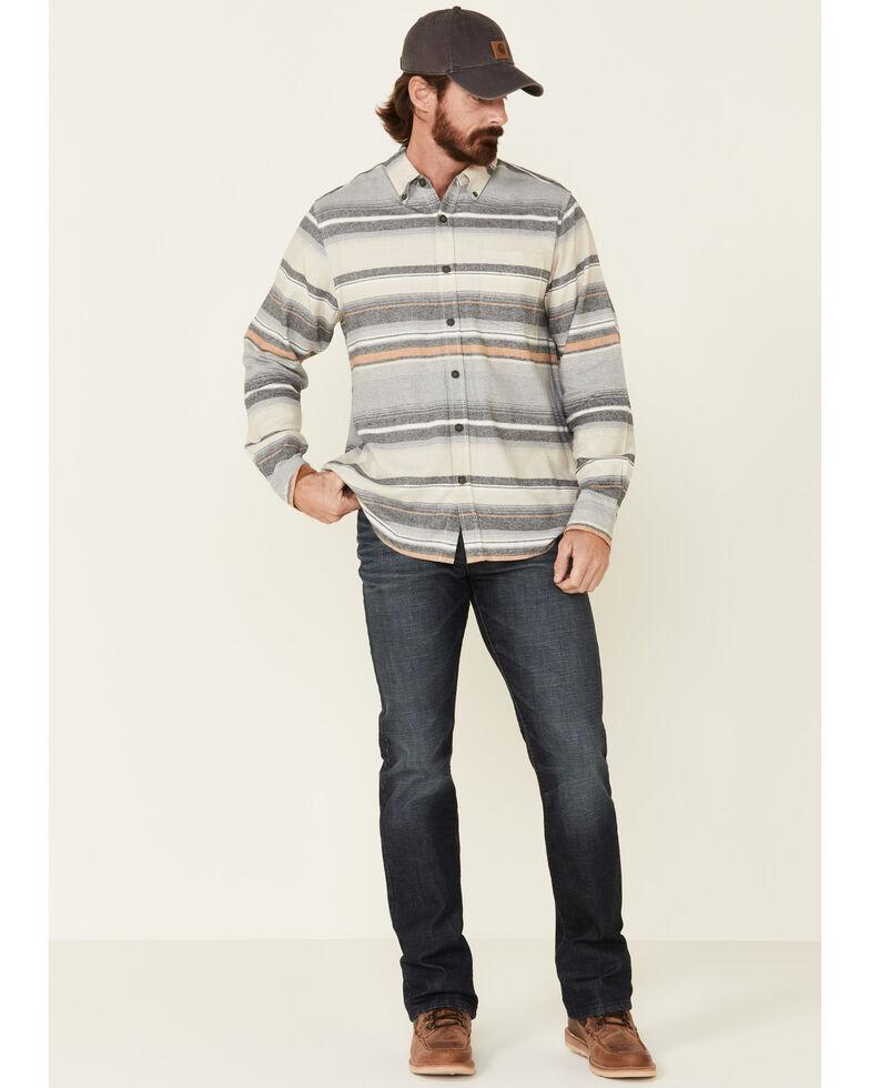 North River Men's Grey Birch Striped Long Sleeve Western Flannel Shirt , Grey, hi-res
