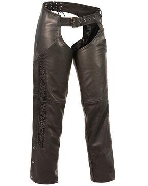 Milwaukee Leather Women's Crinkled Leg Striping Chaps - 4X, Black, hi-res