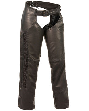 Milwaukee Leather Women's Crinkled Leg Striping Chaps - 5X, Black, hi-res
