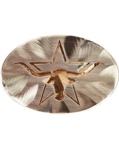 American Heritage Stainless Buckles Longhorn Steer with Star Belt Buckle, Silver, hi-res