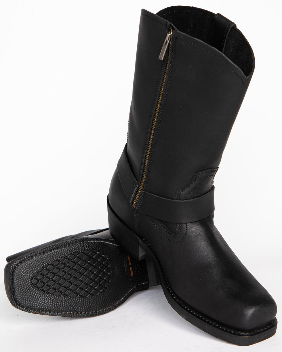 Men/'s Harness Boots Motorcycle boots ZIP LACE