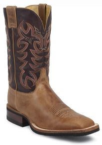 Justin Men's Q-Crepe Cowboy Boots - Wide Square Toe, Tan, hi-res