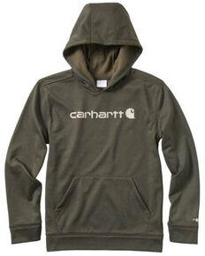 Carhartt Kids Boys' Olive Force Signature Hooded Fleece Sweatshirt , Olive, hi-res