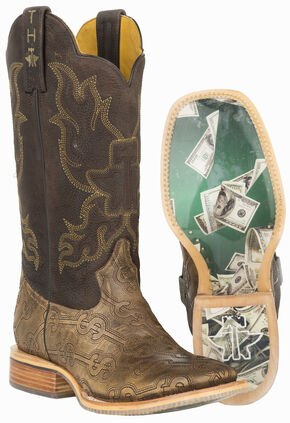Tin Haul Blue Hawaii Cowboy Boots - Wide Square Toe , Tan, hi-res
