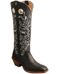 Twisted X Women's Floral Embroidery Western Boots - Square Toe, Black, hi-res