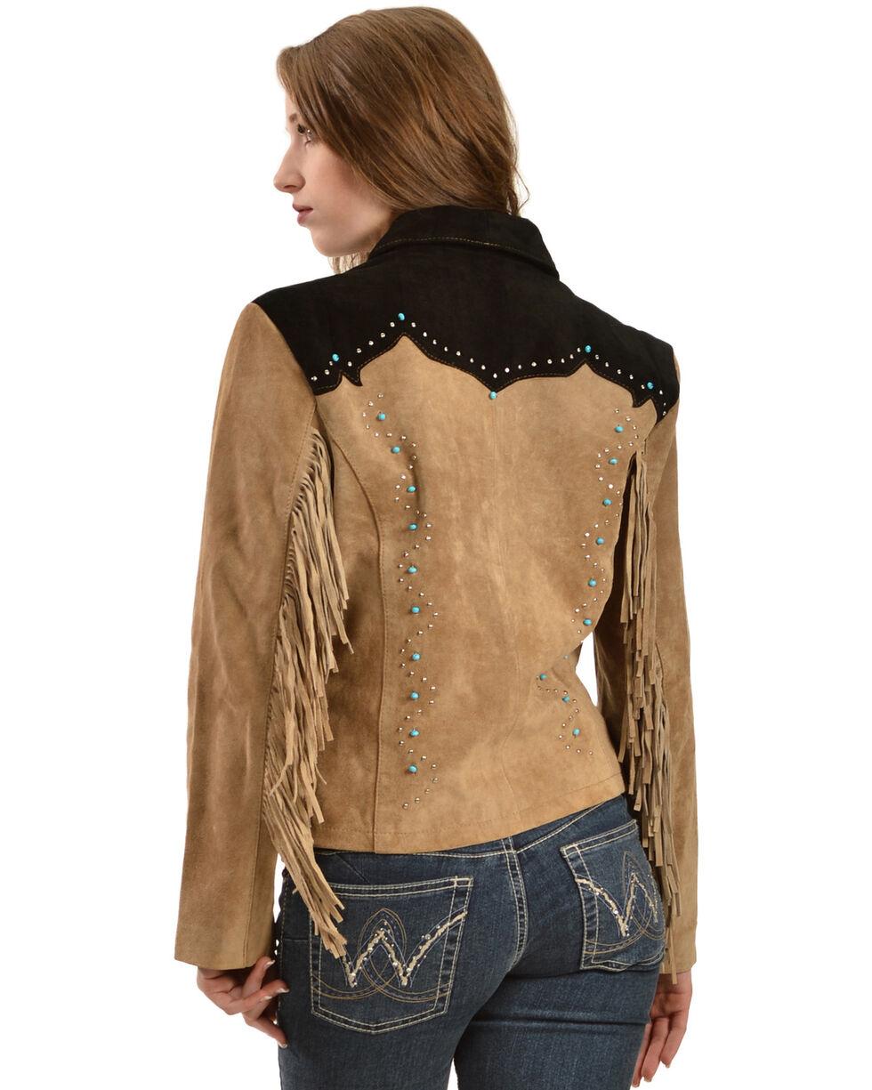 Liberty Wear Women's Suede Fringe Studded Jacket, Brown, hi-res